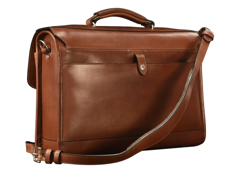 Hand-burnished,-espresso-Flapover-Bag-with-tangerine-grosgrain-lining;-17-x-12-x-4'-back
