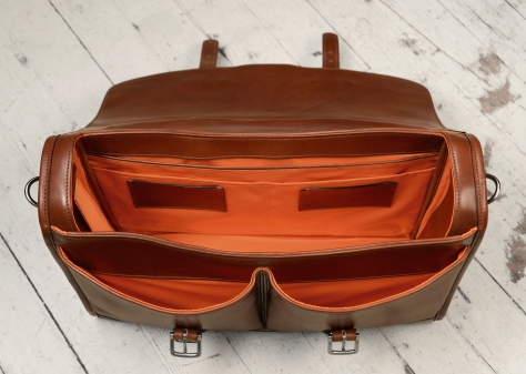Hand-burnished,-espresso-Flapover-Bag-with-tangerine-grosgrain-lining;-17-x-12-x-4'-topdown3