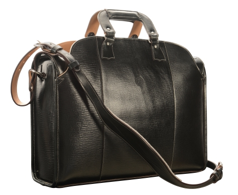 Hand-grained,-hand-colored-olive-black-Transaction-Bag-with-hand-grained-natural-trim;-19-x-13-x-6'