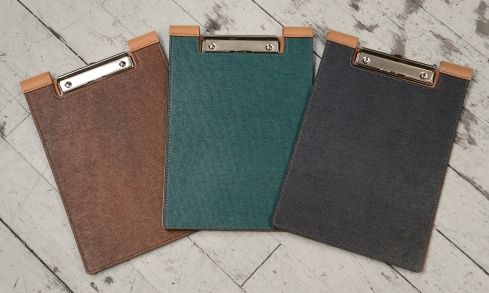 Leather-surface-Writing-Clipboard-with-hand-colored-espresso,-turquoise-and-navy-blue-fiber.1