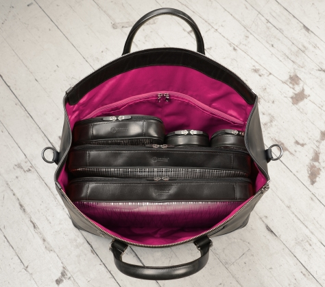 Hand-burnished,-black-Club-Bag-with-magenta-lining;-19-x-13-x-8'-topdown1
