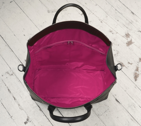 Hand-burnished,-black-Club-Bag-with-magenta-lining;-19-x-13-x-8'-topdown2