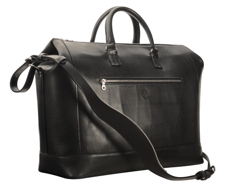 Hand-burnished,-black-Club-Bag-with-magenta-lining;-19-x-13-x-8'