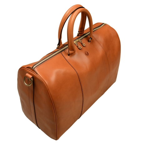 Hand-burnished-chestnut-Duffel-Bag;-19-x-13-x-9'-topdown