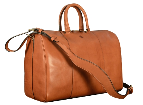 Hand-burnished-chestnut-Duffel-Bag;-19-x-13-x-9'