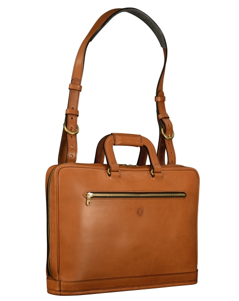 Hand-burnished-chestnut-saddle-leather-Platform-Portfolio-with-shoulder-strap;-16-x-11-x-4'-shoulder-strap