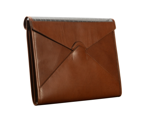 Hand-burnished,-espresso-mostly-leather-A4-Flapover-Folderholder
