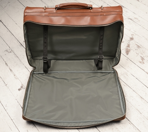 Hand-burnished,-espresso-Short-Hop-Garment-Bag;-22-x-14-x-8'-topdown1
