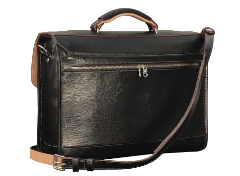 Hand-grained,-hand-colored-black-Headhunter-Flaptop-Bag-with-hand-grained-natural-leather-trim-and-crimson-red-lining;-17-x-12-x-4'-back