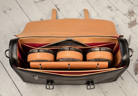 Hand-grained,-hand-colored-black-Headhunter-Flaptop-Bag-with-hand-grained-natural-leather-trim-and-crimson-red-lining;-17-x-12-x-4'-topdown1