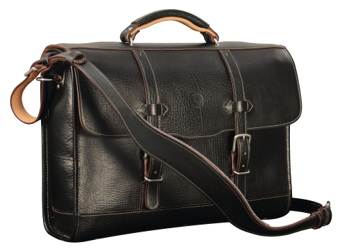 Hand-grained,-hand-colored-black-Headhunter-Flaptop-Bag-with-hand-grained-natural-leather-trim-and-crimson-red-lining;-17-x-12-x-4'