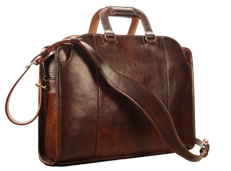 Hand-grained,-hand-colored-sienna-Day-Bag-with-natural-trim;-17-x-12-x-4'