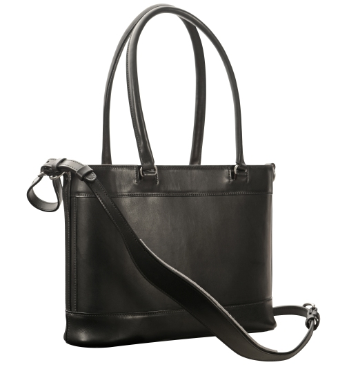 Hand-burnished,-black-Business-Tote-with-handles-and-strap;-14-x-11-x-4'