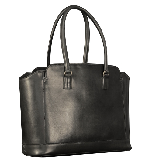 Hand-burnished-black-City-Tote-with-black-trim;-16-x-12-x-6'