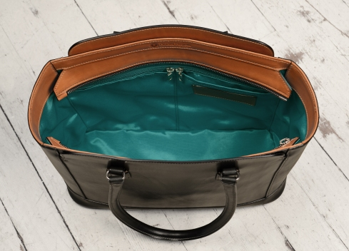 Hand-burnished-black-City-Tote-with-chestnut-trim-and-turquoise-grosgrain-lining;-16-x-12-x-6'-topdown3