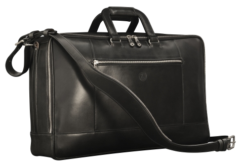 Hand-burnished-black-Square-Duffel-with-square-handles;-20-x-13-x-6'