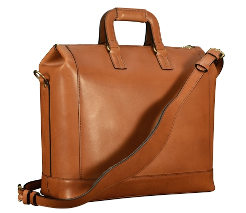 Hand-burnished-chestnut-Club-Bag-with-california-blue-lining;-16-x-12-x-6'-back