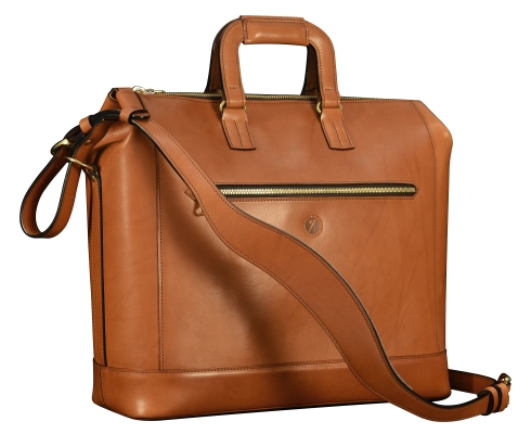 Hand-burnished-chestnut-Club-Bag-with-california-blue-lining;-16-x-12-x-6'