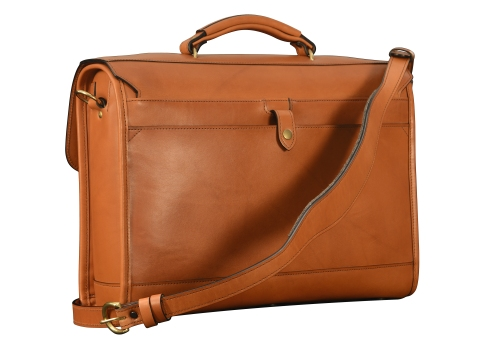 Hand-burnished-chestnut-Headhunter-Flaptop-Bag-without-front-zip-pocket;-17-x-12-x-4'-back