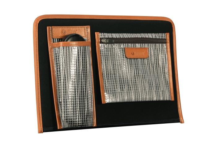 Hand-burnished-chestnut-Padded-Panel-with-royal-blue-lining,-eye-glasses-holder-and-zipped-shirt-pocket-organizer-back