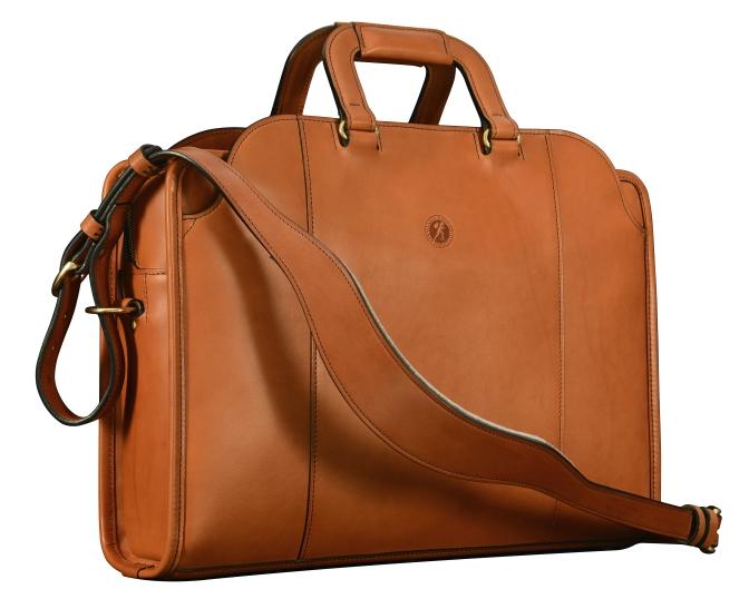 Hand-burnished-chestnut-saddle-leather-Day-Bag;-17-x-12-x-4'