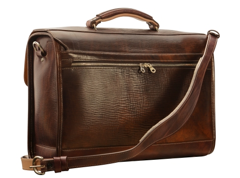 Hand-grained,-hand-colored-espresso-Headhunter-Flaptop-Bag-with-natural-trim;-17-x-12-x-5'-back