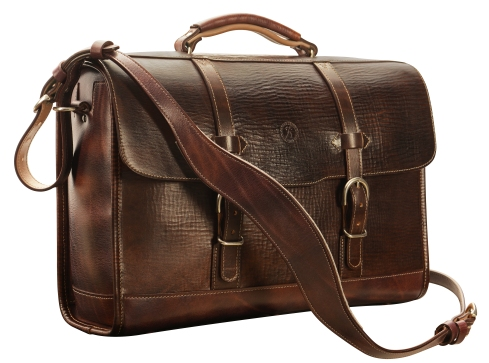 Hand-grained,-hand-colored-espresso-Headhunter-Flaptop-Bag-with-natural-trim;-17-x-12-x-5'