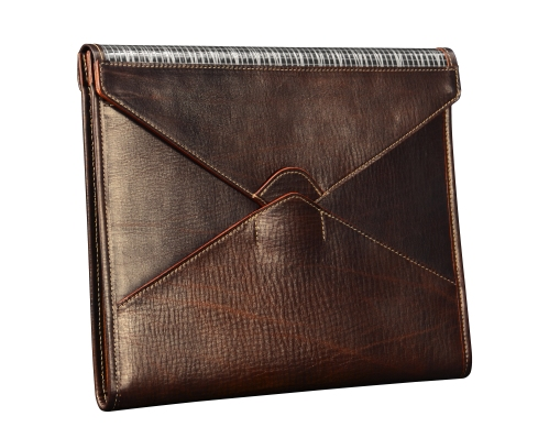 Hand-grained,-hand-colored-espresso-Mostly-Leather-Tablet-Flaptop-Writing-Pad-with-natural-leather-trim;-13-x-11'.1