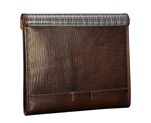 Hand-grained,-hand-colored-espresso-Mostly-Leather-Tablet-Flaptop-Writing-Pad-with-natural-leather-trim;-13-x-11'.2