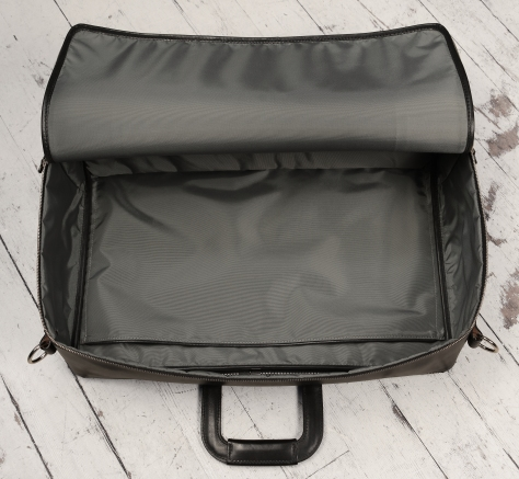 Hand-burnished-black-Square-Duffel-with-square-handles;-20-x-13-x-6'-topdown2