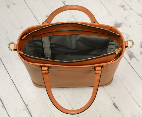Hand-burnished,-chestnut-Business-Tote-with-handles-and-strap;-14-x-13-x-4'-topdown2