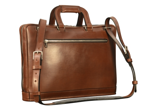 Hand-burnished-espresso-Platform-Portfolio-with-zip-back-pocket-and-shoulder-strap;-16-x-11-x-4'-back