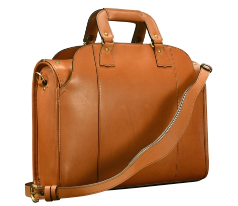 Hand-burnished-chestnut-Deal-Bag-with-tangerine-grosgrain-lining;-17-x-12-x-5'-back