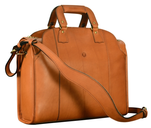 Hand-burnished-chestnut-Deal-Bag-with-tangerine-grosgrain-lining;-17-x-12-x-5'