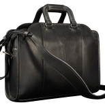 Hand-burnished-black-Day-Bag-with-california-blue-grosgrain-lining;-17-x-12-x-4'