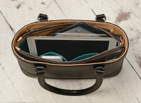 Hand-burnished-black-Hand-Bag-with-hand-grained-natural-trim-and-turquoise-grosgrain-lining;-12-x-8-x-3'-topdown2