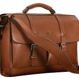 "Hand-burnished,-handmade-espresso-Flaptop-Bag;-16-x-12-x-4"""