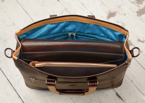 Hand-grained,-hand-colored-espresso-Club-Bag-with-hand-grained-natural-trim-and-california-blue-lining;-16-x-10-x-4'-topdown1