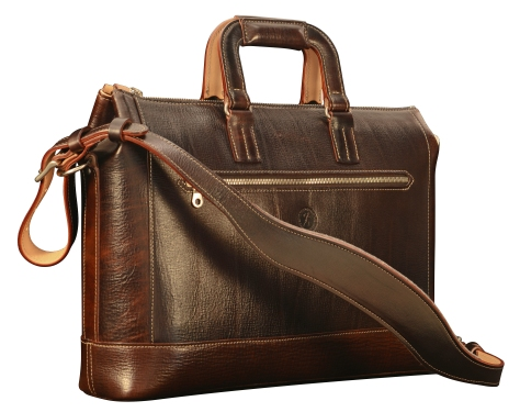 Hand-grained,-hand-colored-espresso-Club-Bag-with-hand-grained-natural-trim-and-california-blue-lining;-16-x-10-x-4'