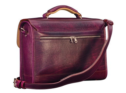 Hand-grained,-hand-colored-violetta-Headhunter-Flaptop-Bag-with-natural-trim-and-lime-green-lining;-15-x-11-x-4'-back