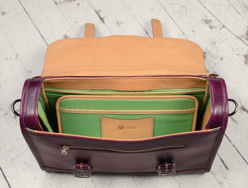 Hand-grained,-hand-colored-violetta-Headhunter-Flaptop-Bag-with-natural-trim-and-lime-green-lining;-15-x-11-x-4'-topdown1
