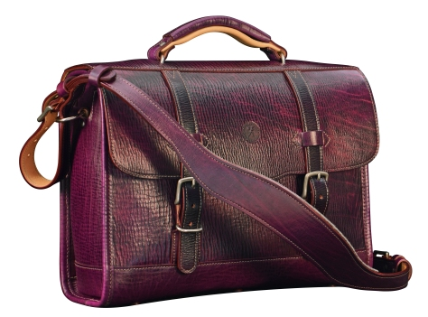 Hand-grained,-hand-colored-violetta-Headhunter-Flaptop-Bag-with-natural-trim-and-lime-green-lining;-15-x-11-x-4'