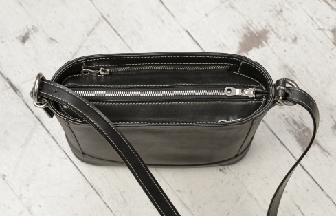 Hand-burnished-black-Shoulder-Bag-with-long-shoulder-strap-and-california-blue-grosgrain-lining;-10-x-10-x-3'-topdown1