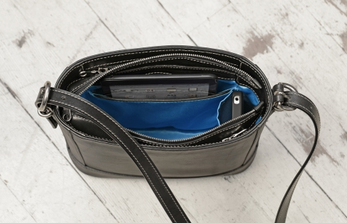 Hand-burnished-black-Shoulder-Bag-with-long-shoulder-strap-and-california-blue-grosgrain-lining;-10-x-10-x-3'-topdown2