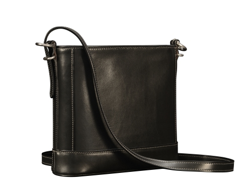 Hand-burnished-black-Shoulder-Bag-with-long-shoulder-strap-and-california-blue-grosgrain-lining;-10-x-10-x-3'