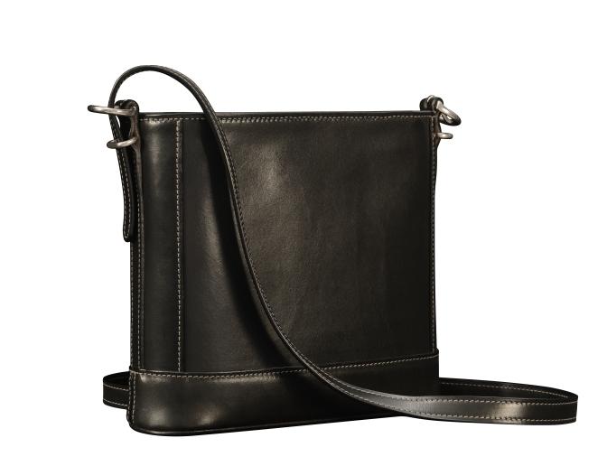 Hand-burnished-black-Shoulder-Bag-with-long-shoulder-strap-and-california-blue-grosgrain-lining;-10-x-10-x-3'