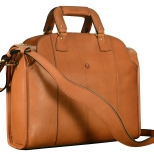 Hand-burnished-chestnut-Deal-Bag-with-forest-green-grosgrain-lining;-17-x-12-x-5'