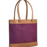 Hand-burnished-natural-leather-Business-Tote-with-hand-colored-violetta-linen-and-lime-green-lining;-17-x-13-x-4'