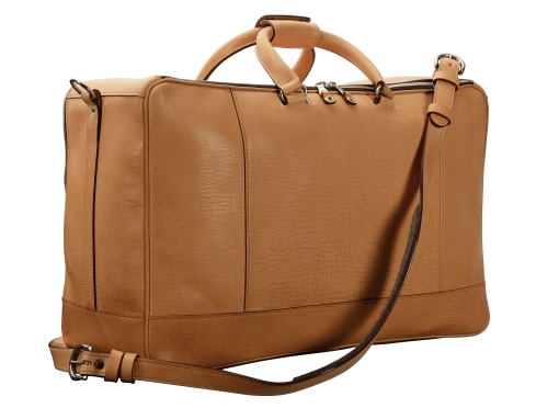 Hand-grained-natural-Square-Duffel-with-olive-green-lining;-20-x-13-x-8'-back