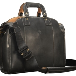 Hand-burnished-black-Deal-Bag-with-natural-leather-trim,-royal-blue-lining-and-cross-body-shoulder-strap;-17-x-12-x-5'